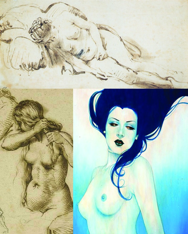 Combination of Nude Female Poses. Rembrandt and Sylvia Ji.