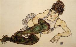 Reclining Nude With Green Stockings. Egon Schiele. Cc 1914